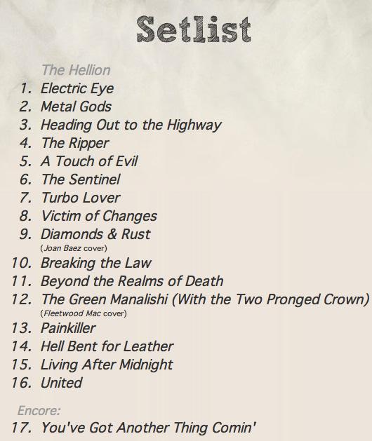 Dette er setlisten som ble spilt live i 2004