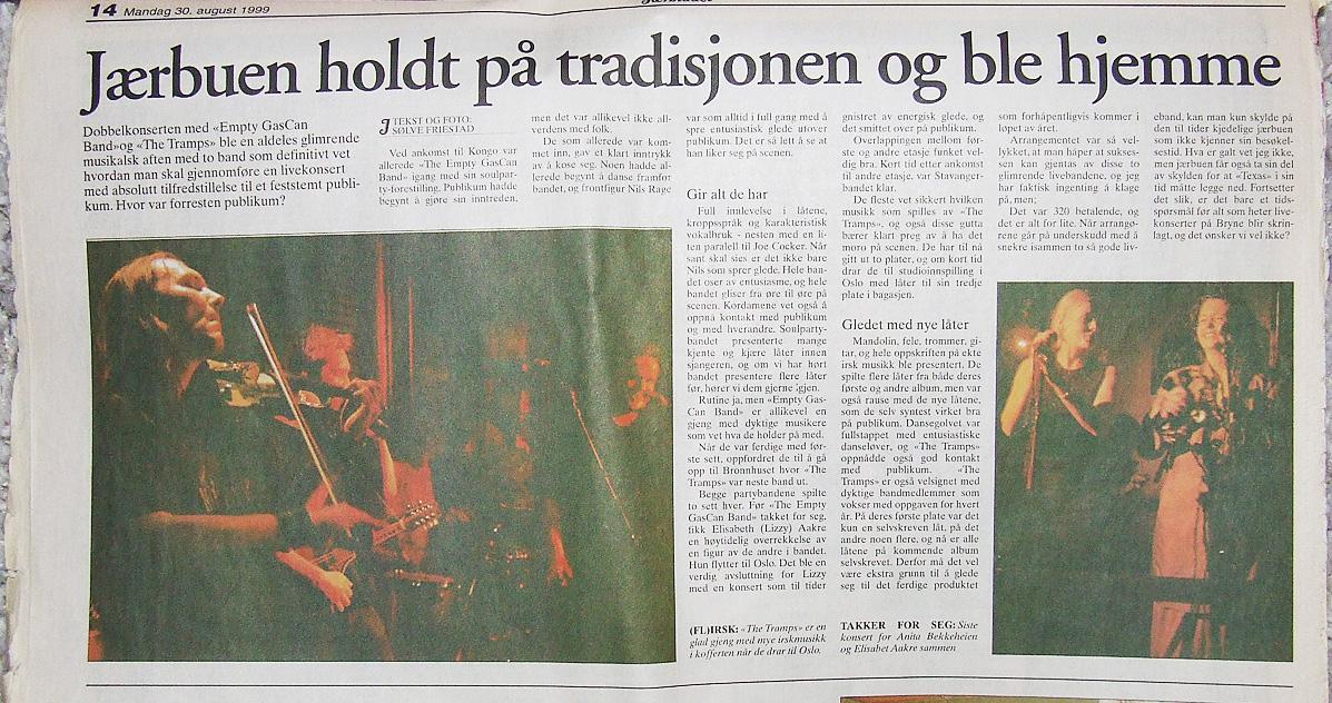 The Tramps og Empty GasCan. Faksimile fra Jærbladet 1999. Scoopet var skuffet over fremmøtet.