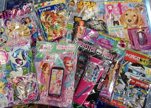 Barneblad med plastikkleker appellerer mest til 5-6-åringer.