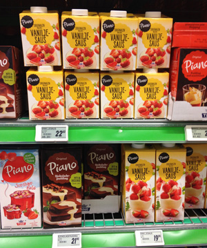 Scooptest: Pris på vaniljesaus. En halv liter koster 22.60,- mens en liter koster 19.90,- Foto: Sølve Friestad